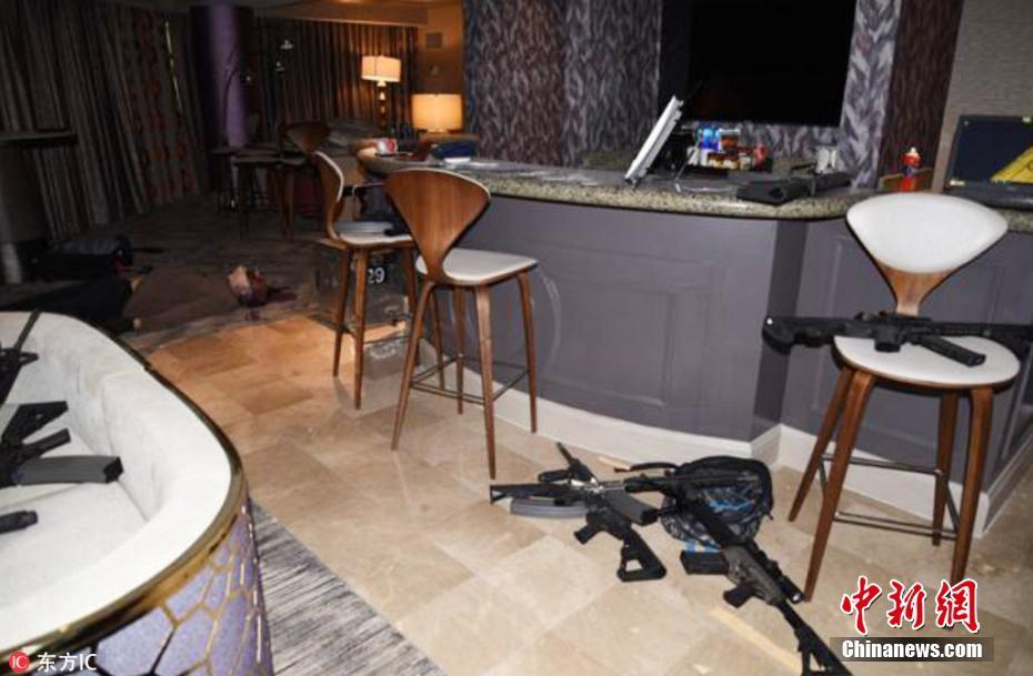 美警方公布赌城枪击案现场照 酒店内全是枪