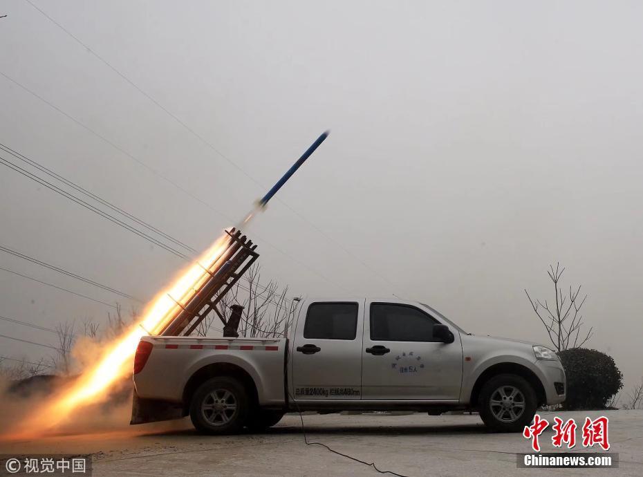 石家庄进行增雪作业:发射44枚火箭弹