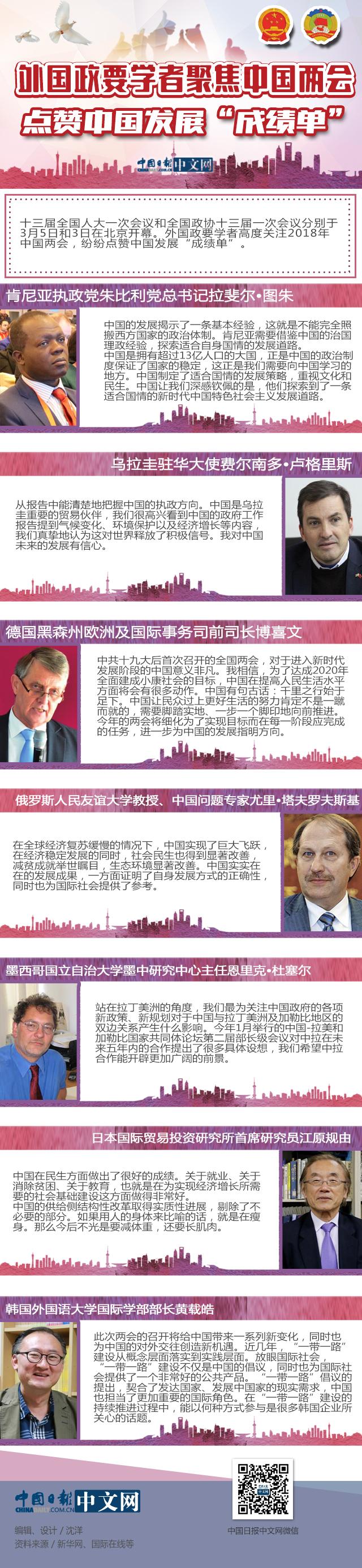 """图解:外国政要学者聚焦中国两会 点赞中国发展""""成绩单"""""""