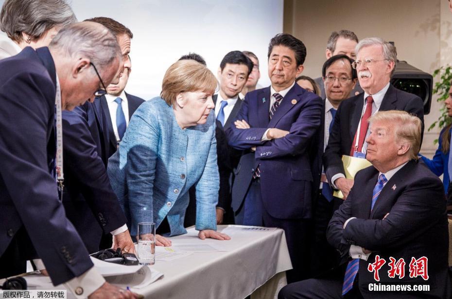 """G7峰会一张图火遍网络 6国领袖""""围战""""特朗普"""
