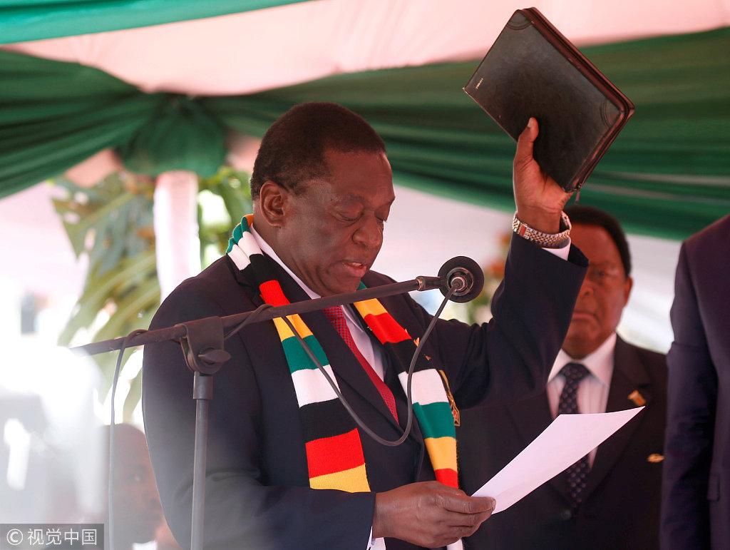 津巴布韦新任总统姆南加古瓦正式宣誓就职