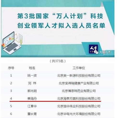"""海泰方圆姜海舟董事长入选国家""""万人计划""""科技创业领军人才"""