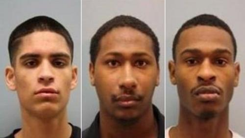 中国侨网3名嫌犯,左起:20岁的佩拉塔(Erick Peralta)、21岁的德瑞克(Aakiel Kendrick)和23岁的卡里(Khari Kendrick)(美国中文网)