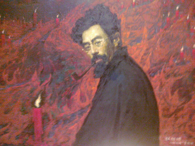 学者与勇士的颂歌:闻立鹏油画《红烛颂》。图为油画《红烛颂》。(赵新民 摄影).jpg
