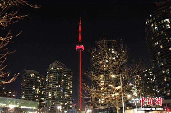 当地时间2月8日晚,在中国农历小年夜,加拿大地标性的观光点、位于多伦多的加拿大国家电视塔连续第四年用灯光披上红装,迎接即将到来的农历戊戌狗年新春。<a target=&#39;_blank&#39; href=&#39;http://www.chinanews.com/&#39;>中新社</a>记者 余瑞冬 摄