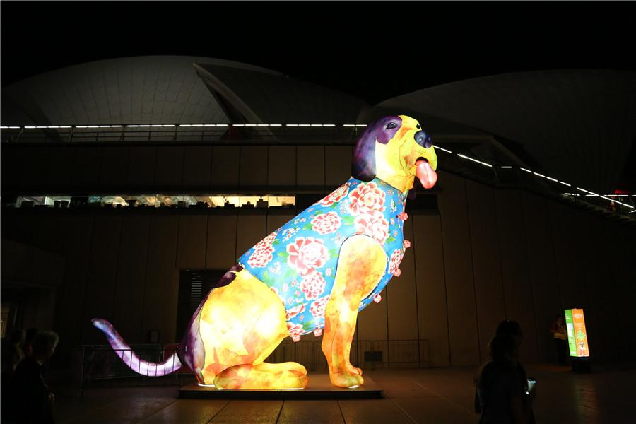 喜迎中国新年 悉尼港展出十二生肖主题花灯(组图)
