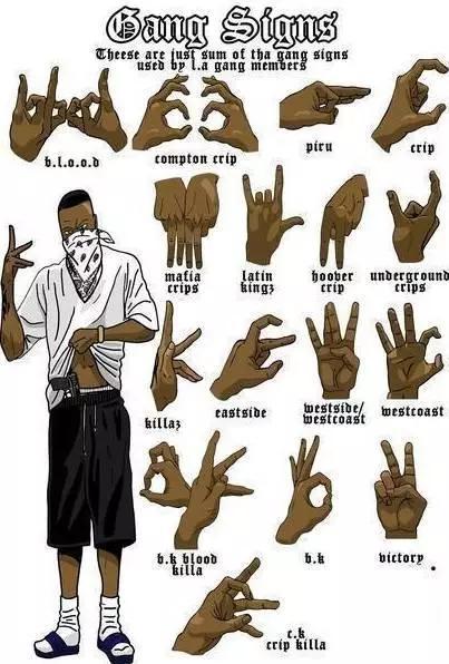 ▲美国黑帮分子的常用手势