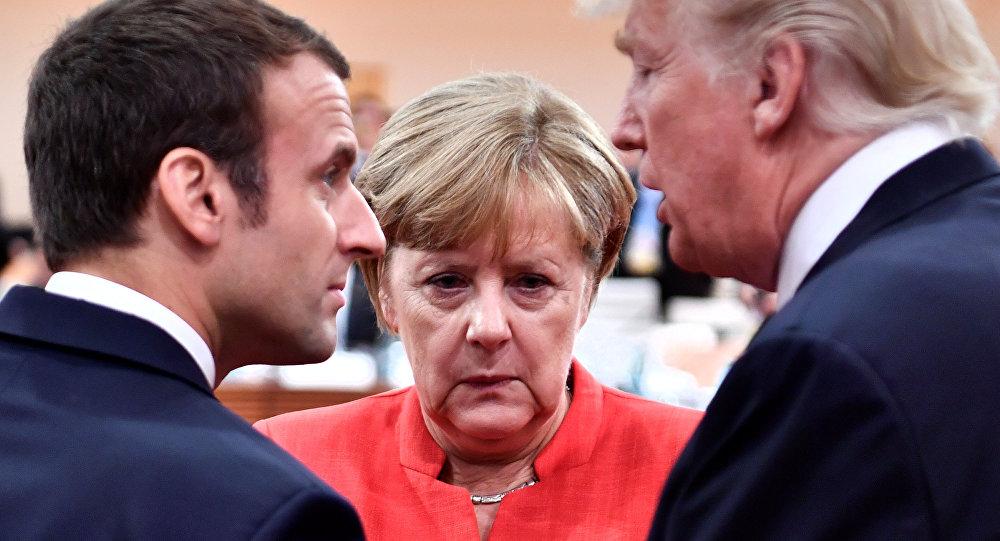 图为2017年7月7日,美法德领导人在G20汉堡峰会会晤。