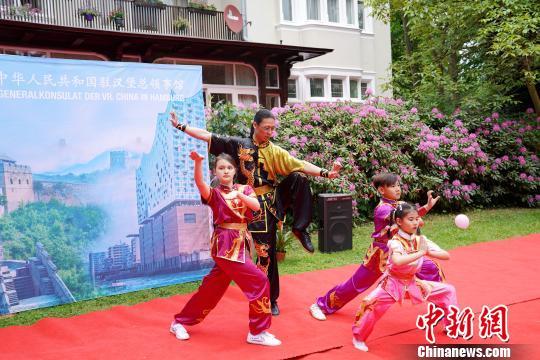 开放日上的中国武术表演 彭大伟 摄