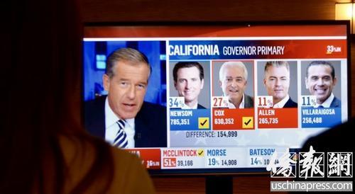 中国侨网美国加州初选的电视转播。(美国《侨报》/夏嘉 摄)