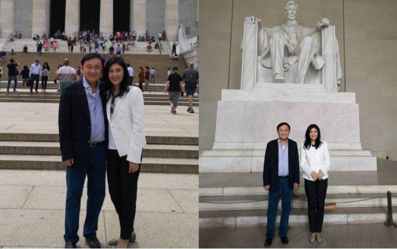 英拉与他信在华盛顿林肯纪念堂前合影。