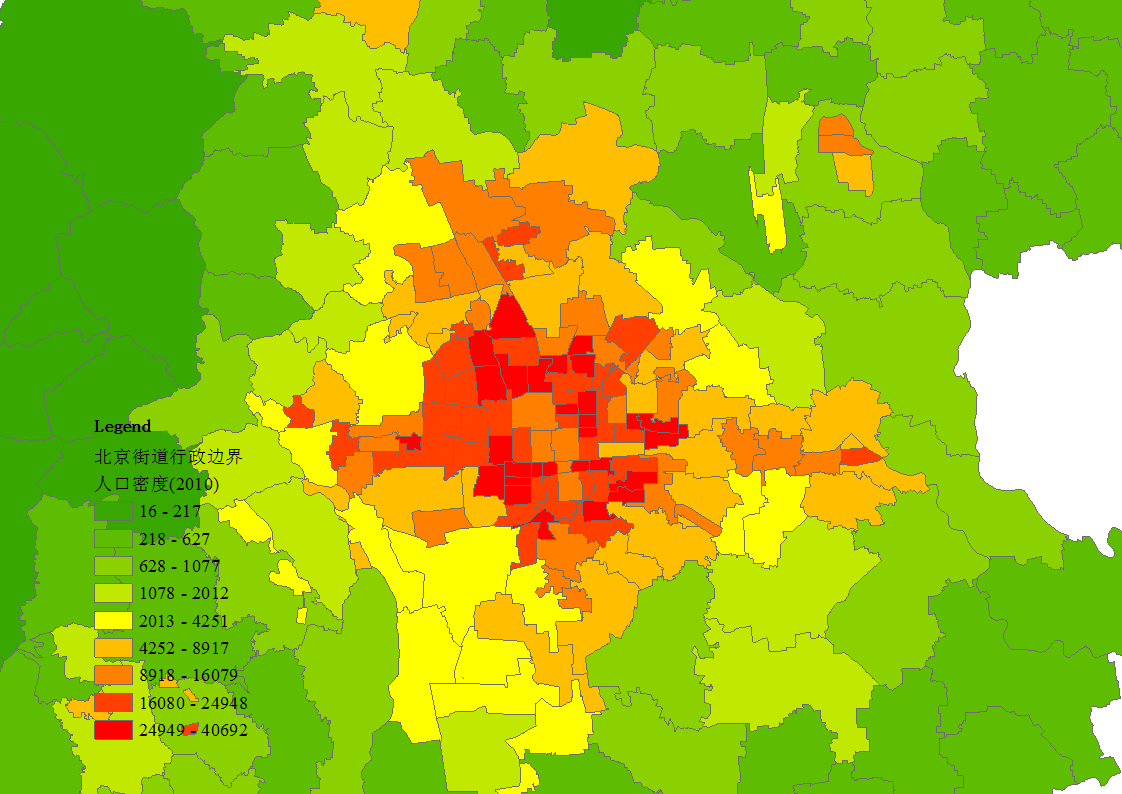 图1 北京乡镇街道人口密度(2010)-规划城市副中心 北京提供缓解 大