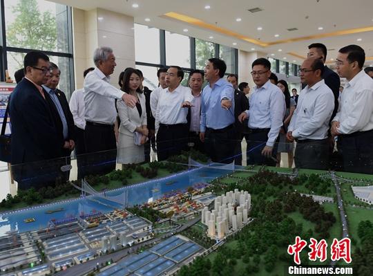 """7月4日,新加坡副总理兼国家安全统筹部长张志贤在重庆市长唐良智陪同下参观重庆果园港。果园港是中国内河最大的铁路、公路、水路综合联运枢纽港,是""""一带一路""""倡议和长江经济带在重庆实现互联互通的枢纽。新加坡和中国将在果园港码头西侧建设一个多式联运示范基地,将其打造成长江上游最大的多式联运综合交通枢纽和物流贸易集散中心。中新社记者 周毅 摄"""