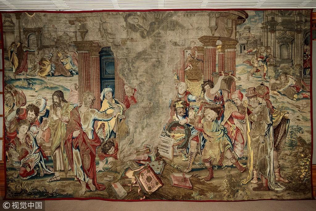 """亨利八世""""金丝银线""""挂毯丢失近300年 今于西班牙被发现"""