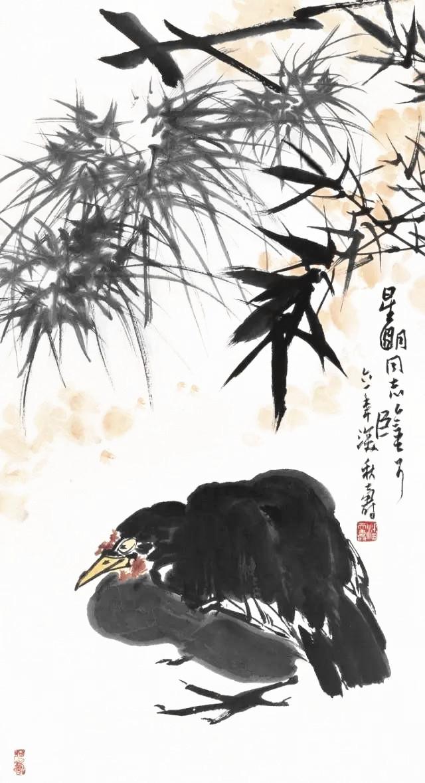 潘天寿 1961年作 竹禽图.jpg