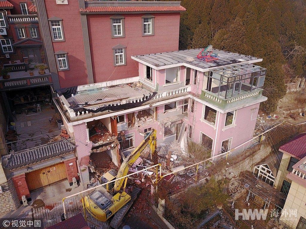 济南600余平违建别墅区被拆除 预计三天完工