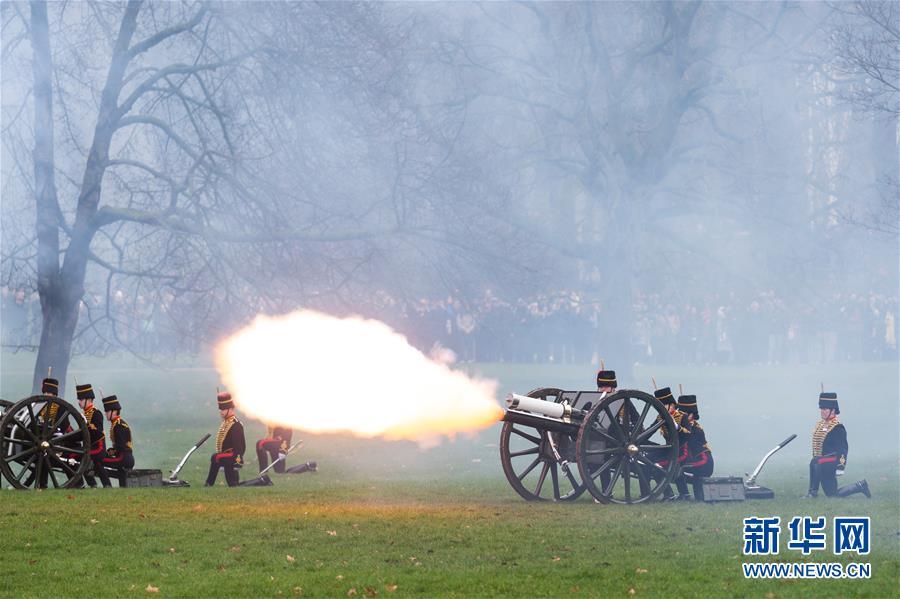 英国皇家骑兵炮队鸣放礼炮庆祝英女王登基67周年