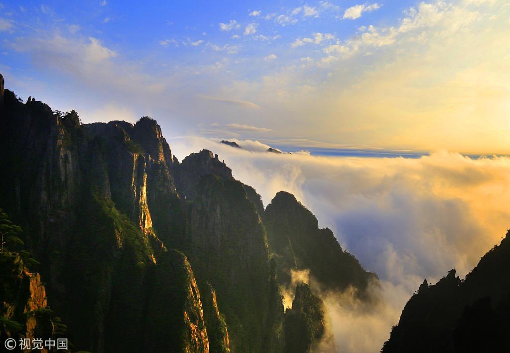 2019年3月9日,雨后在安徽黃山風景區拍攝的云海景觀.