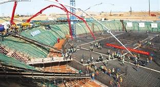 埃及新首都中央商务区项目开盘浇筑