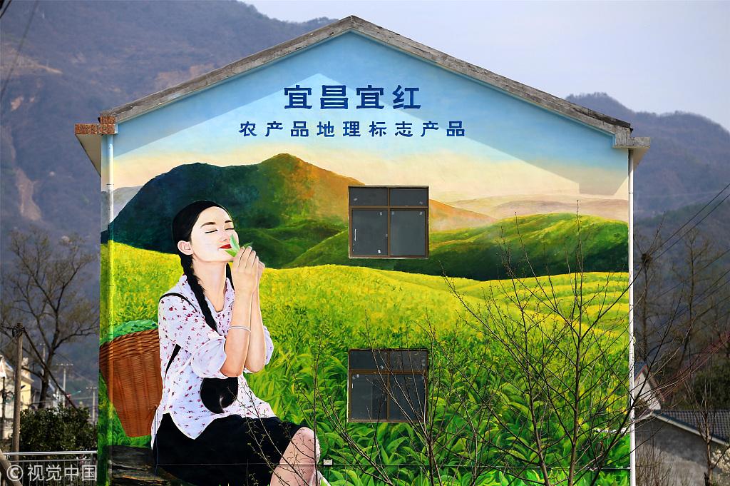 湖北宜昌:三维立体墙画扮靓农村