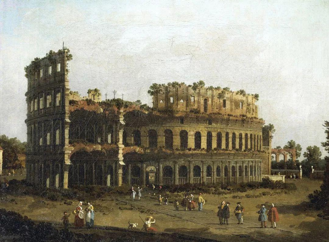意大利风景画家卡纳莱托(canaletto,1697-1768年)所画罗马竞技场.