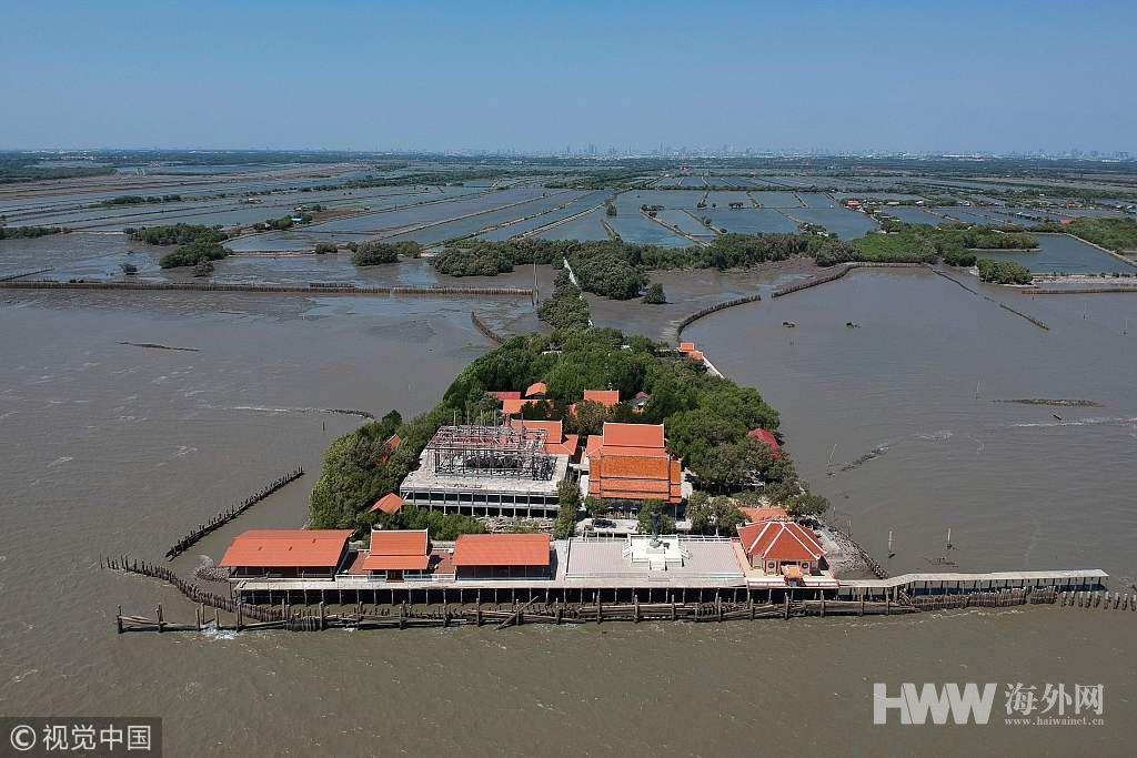 """水土流失严重 泰国一寺庙成""""漂浮寺庙"""""""