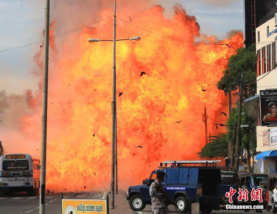 直击斯里兰卡第九起爆炸现场 火光冲天