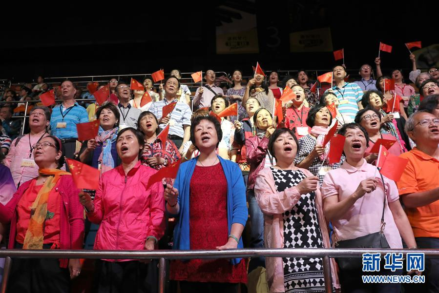 (图文互动)(3)香港岛各界举行文艺晚会庆祝新中国成立70周年