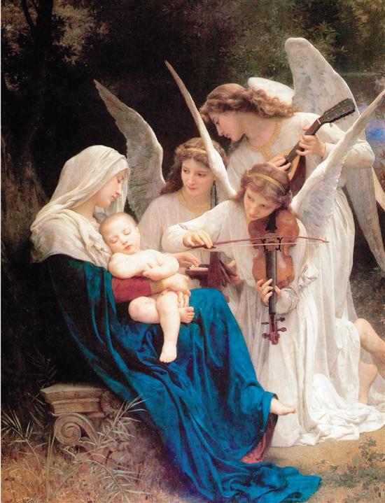 威廉·阿道夫·布格罗 天使之歌 213.4×152.4cm 布面油画 1881年 现藏于美国森林草坪纪念公园博物馆.jpg
