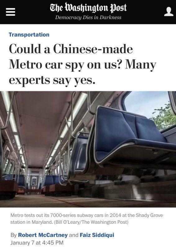 中国制地铁可监控美国官员?美专家脑洞,佩服!
