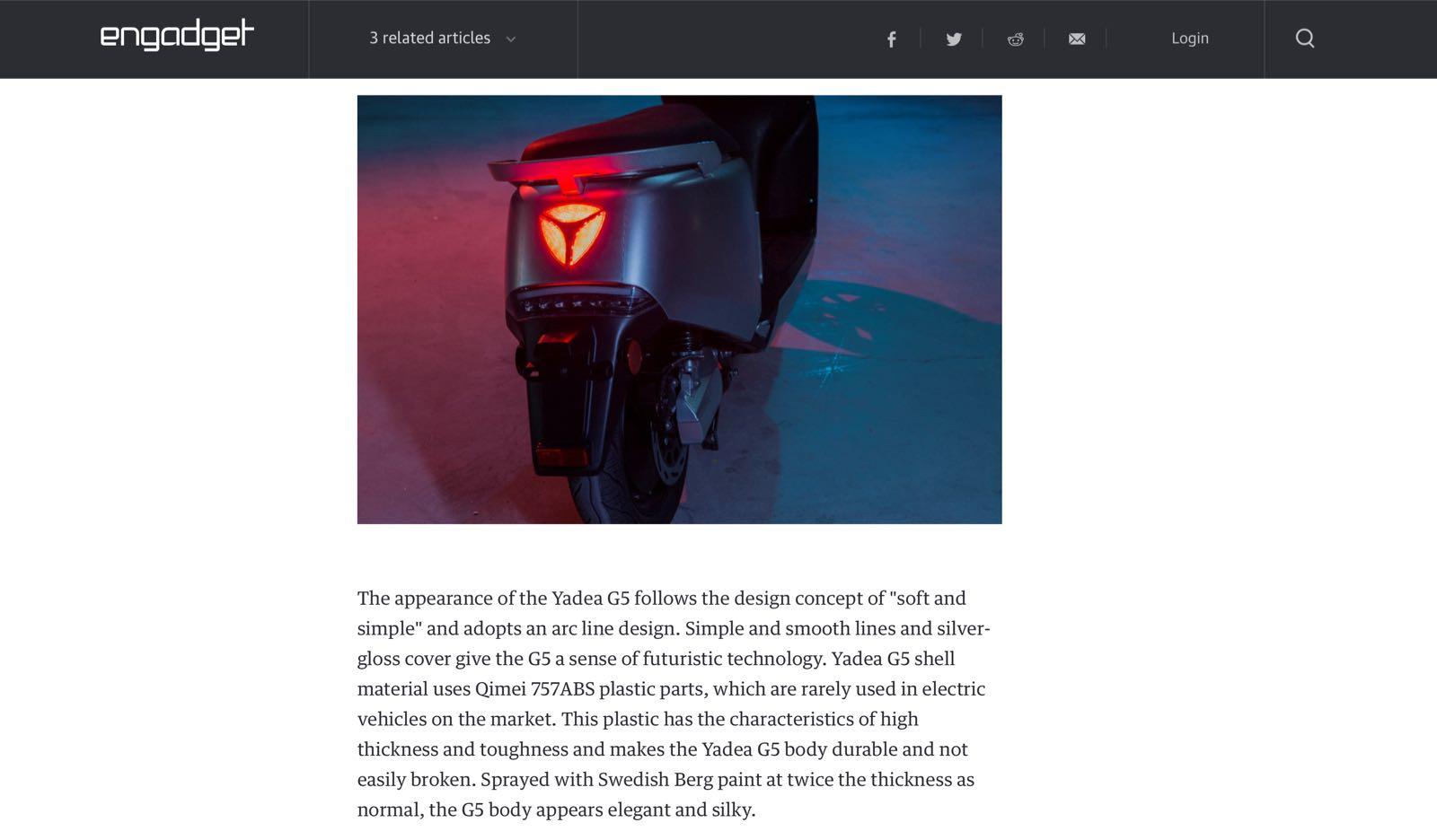 雅迪G5引起美国科技媒体热评