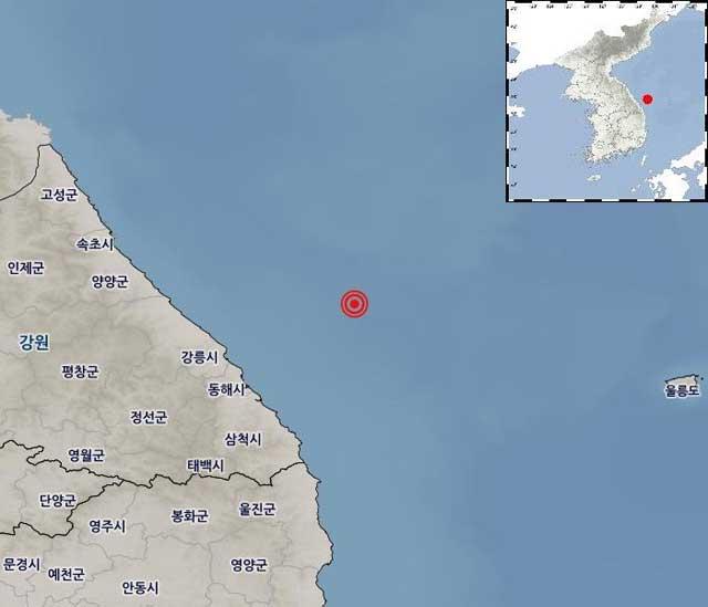 """[속보] 기상청 """"강원 동해시 북동쪽 56km 해역 규모 4.2 지진"""""""