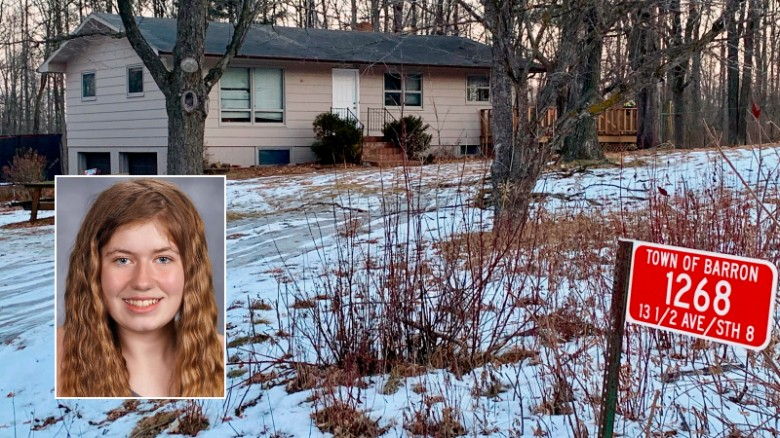 在她的父母在家中被杀之后,Jayme Closs被绑架,在警方查获犯罪现场后,这里显示出来。