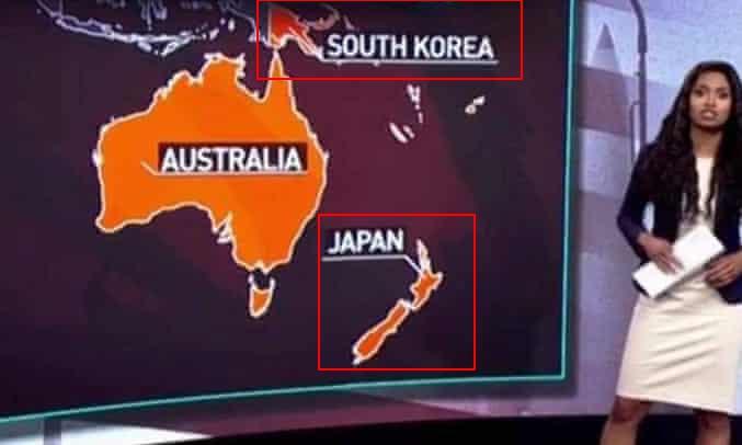 俄媒节目地图出错:新西兰变 quot;日本 quot; 巴新变 quot;韩国 quot;