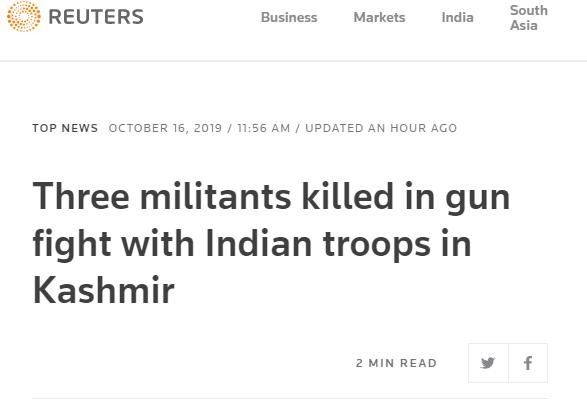 克什米尔再爆枪战!印方称3名武装人员被击毙