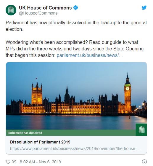 英国议会宣布正式解散 揭开圣诞月提前大选序幕
