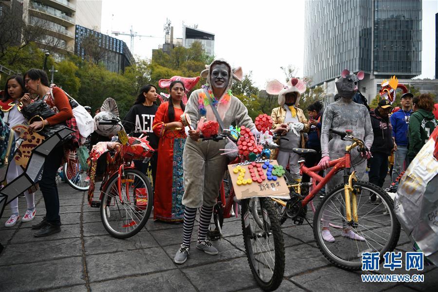 墨西哥城举行自行车生肖装饰大赛
