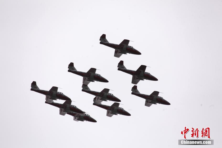 """加拿大""""雪鸟""""飞行队飞越多伦多 为抗疫打气"""