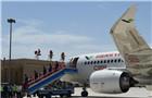 国产C919客机飞抵吐鲁番