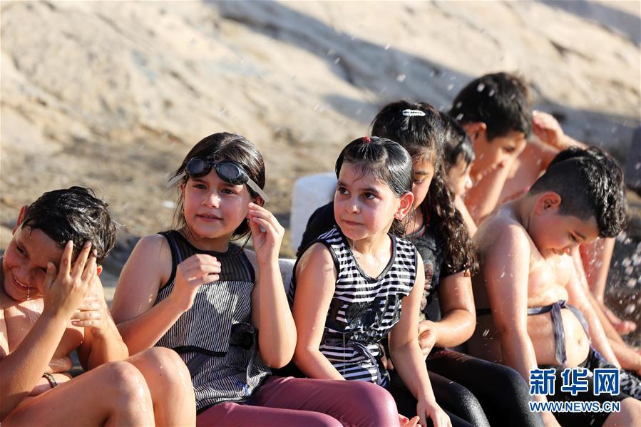 伊拉克儿童的游泳课