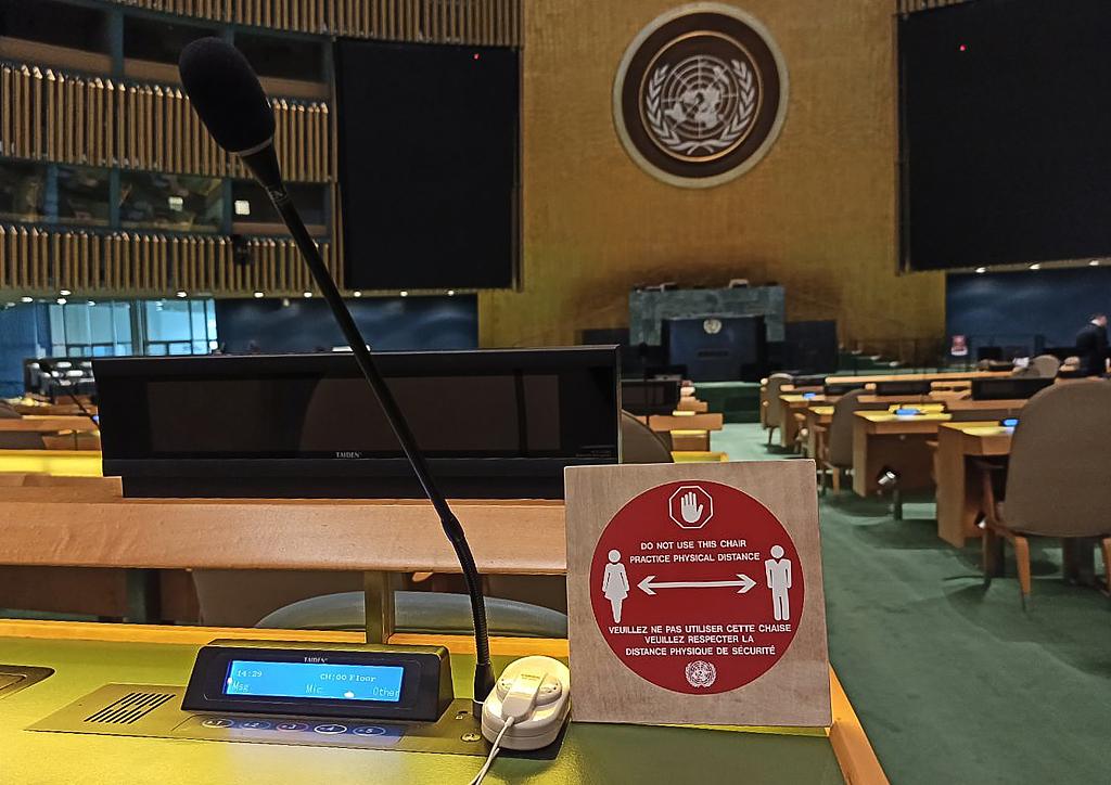 第75届联合国大会持续召开 总部设置防疫标识