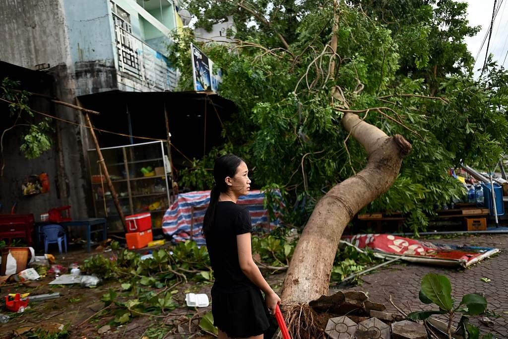 """台风""""莫拉菲""""登陆越南 街头大树被连根拔起"""