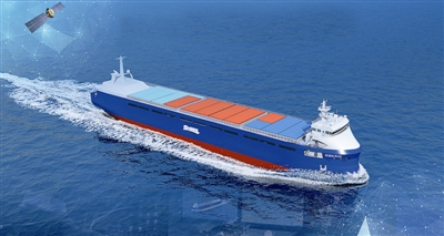"""国内首艘智能航行集装箱船""""智飞号""""效果图。.jpg"""