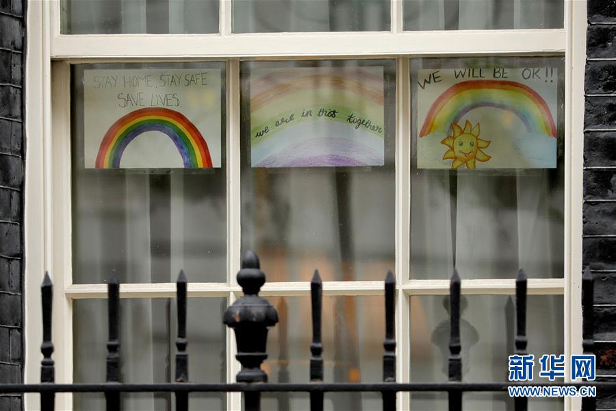 (国际疫情)(1)英国首相府的彩虹画
