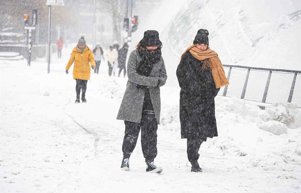 荷兰遭遇罕见暴风雪
