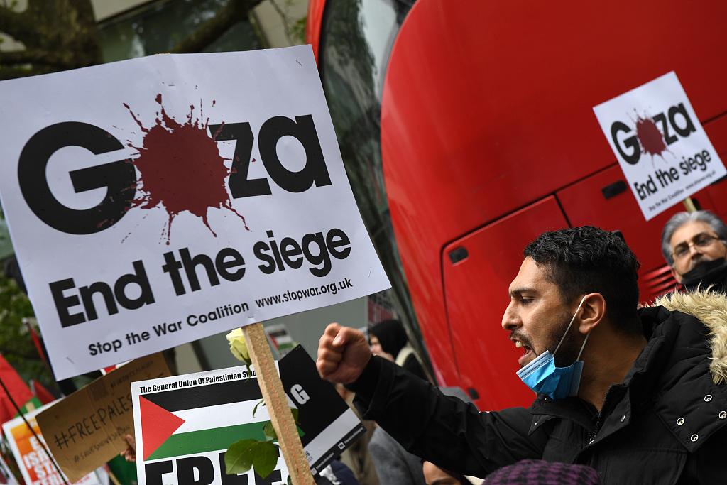 欧洲多国举行声援巴勒斯坦的游行示威活动