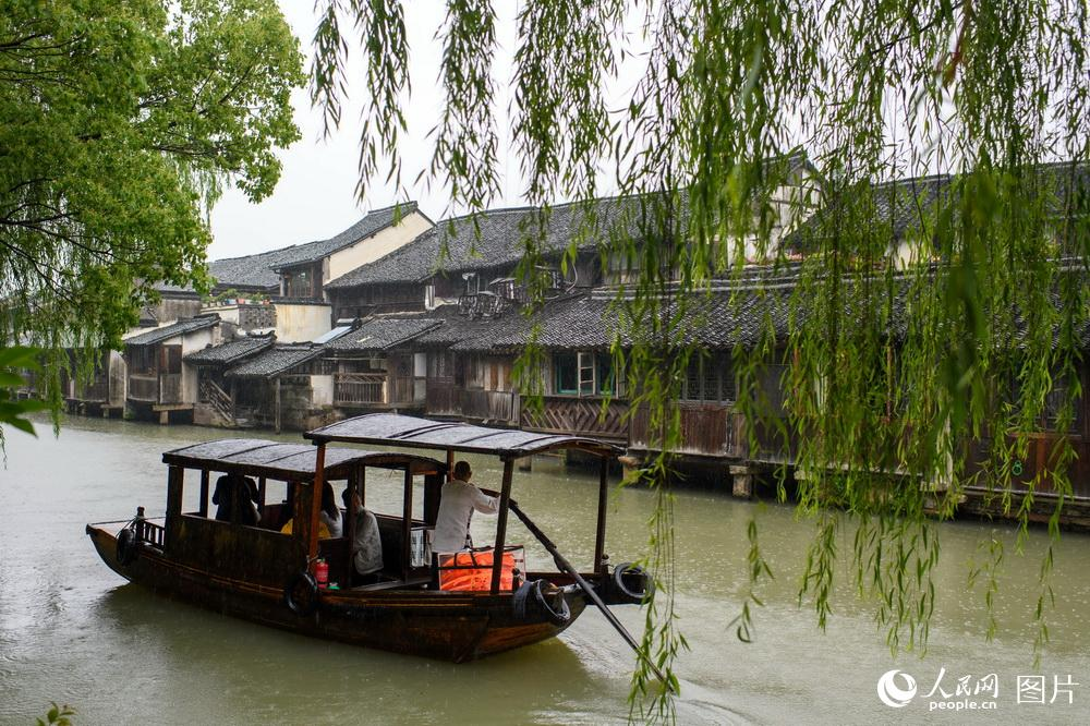 浙江桐乡:雨中漫游古镇 感受红色文化
