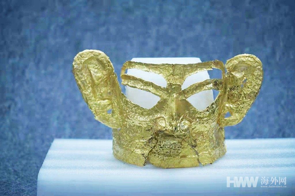 三星堆再曝新发现 首次出土完整金面具