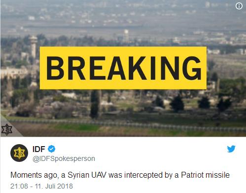 """以军方发射""""爱国者""""导弹 成功拦截一叙利亚无人机"""