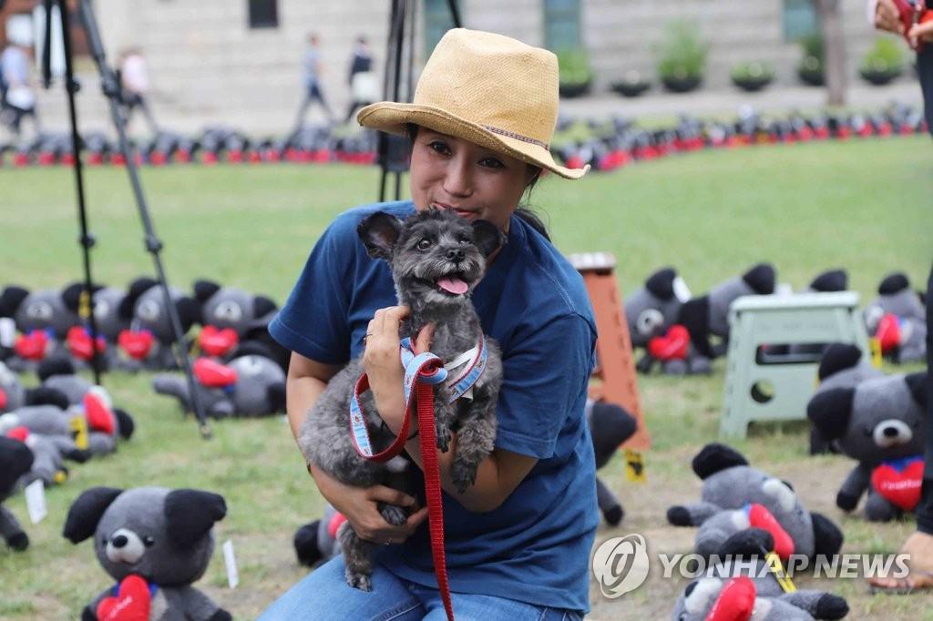 动物保护组织的负责人和文在寅爱犬Torry现身大会